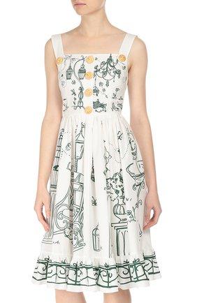 Приталенный сарафан с декоративными пуговицами Dolce & Gabbana белое | Фото №3