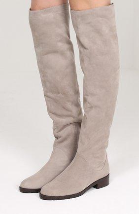 Замшевые сапоги на устойчивом каблуке Stuart Weitzman серые | Фото №1