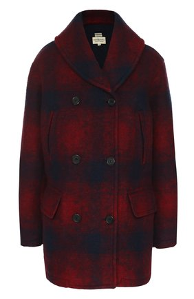 Двубортное пальто прямого кроя в клетку Denim&Supply by Ralph Lauren красного цвета   Фото №1