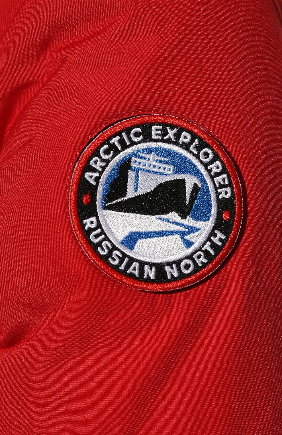 Женский пуховик с накладными карманами и меховой отделкой ARCTIC EXPLORER красного цвета, арт. UMI_RED   Фото 5 (Рукава: Длинные; Длина (верхняя одежда): До середины бедра; Кросс-КТ: Пуховик; Материал внешний: Пух и перо; Статус проверки: Проверено, Проверена категория)