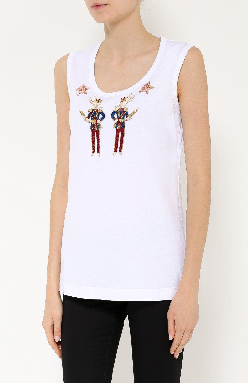 Топ без рукавов с яркой вышивкой Dolce & Gabbana белый   Фото №3