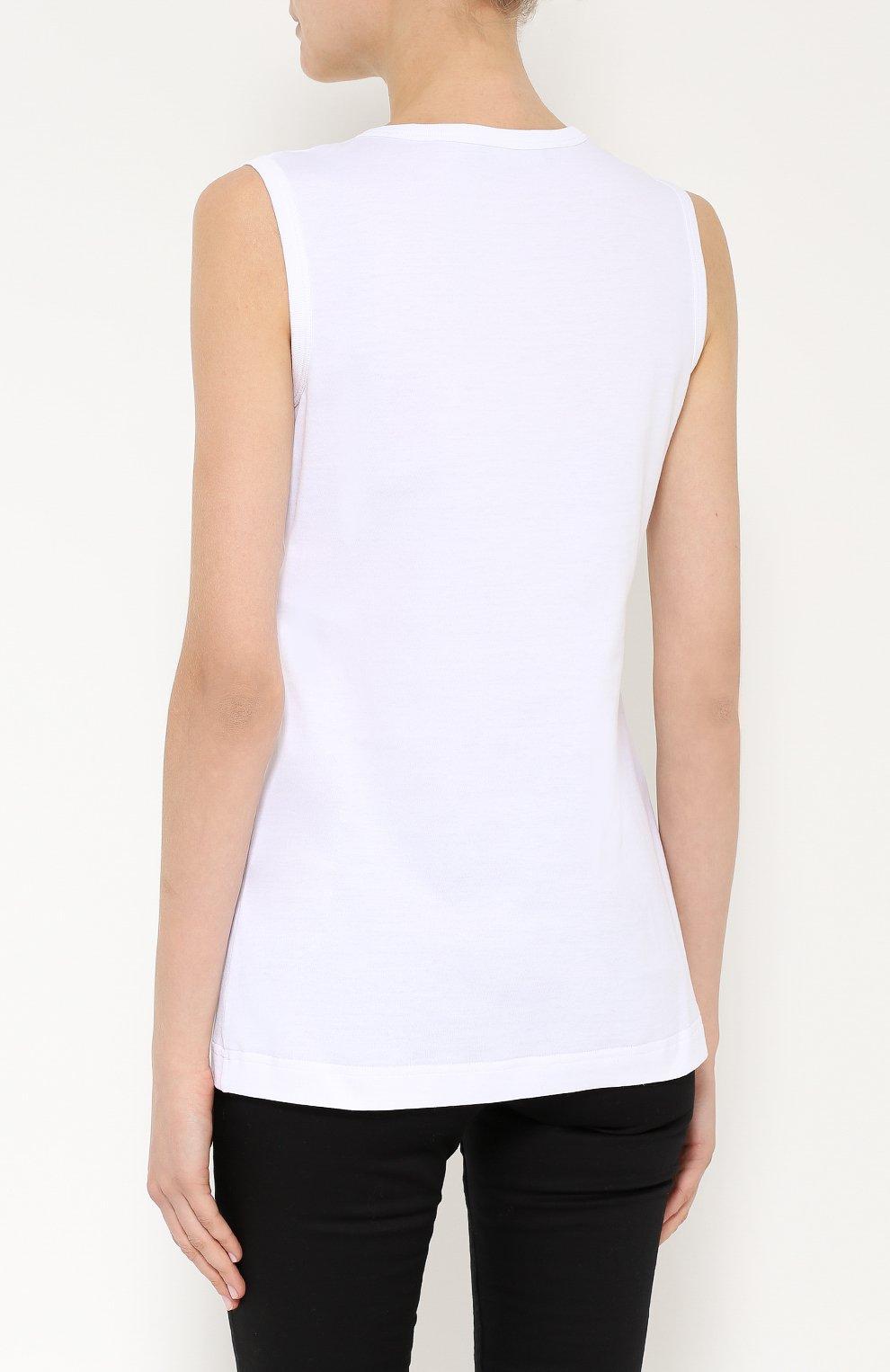 Топ без рукавов с яркой вышивкой Dolce & Gabbana белый   Фото №4