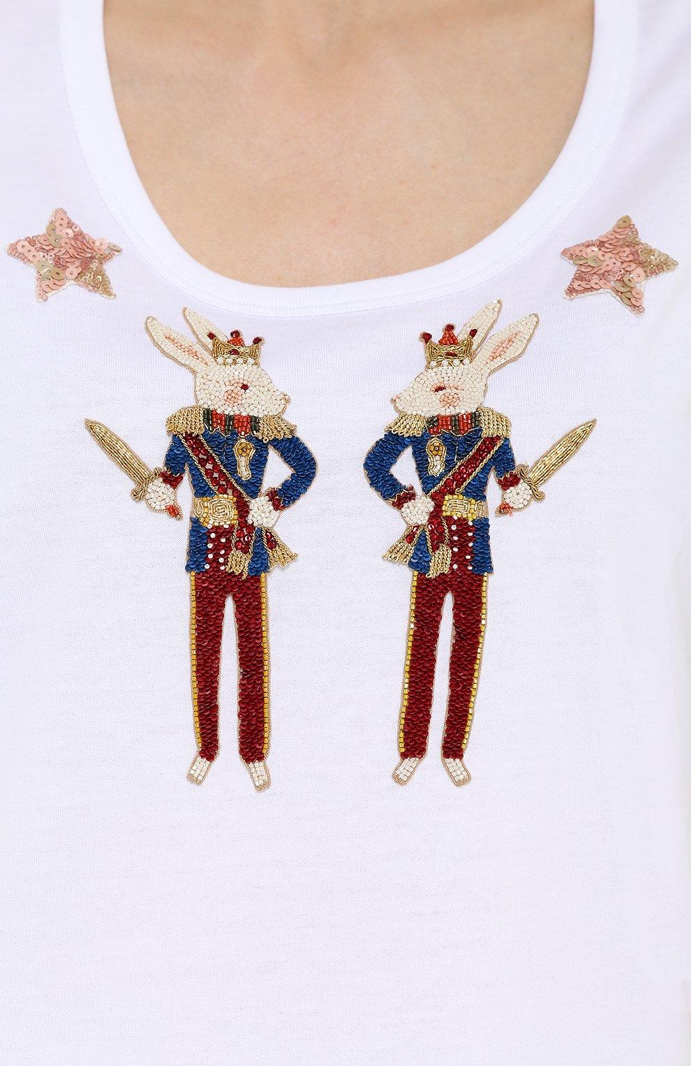 Топ без рукавов с яркой вышивкой Dolce & Gabbana белый   Фото №5