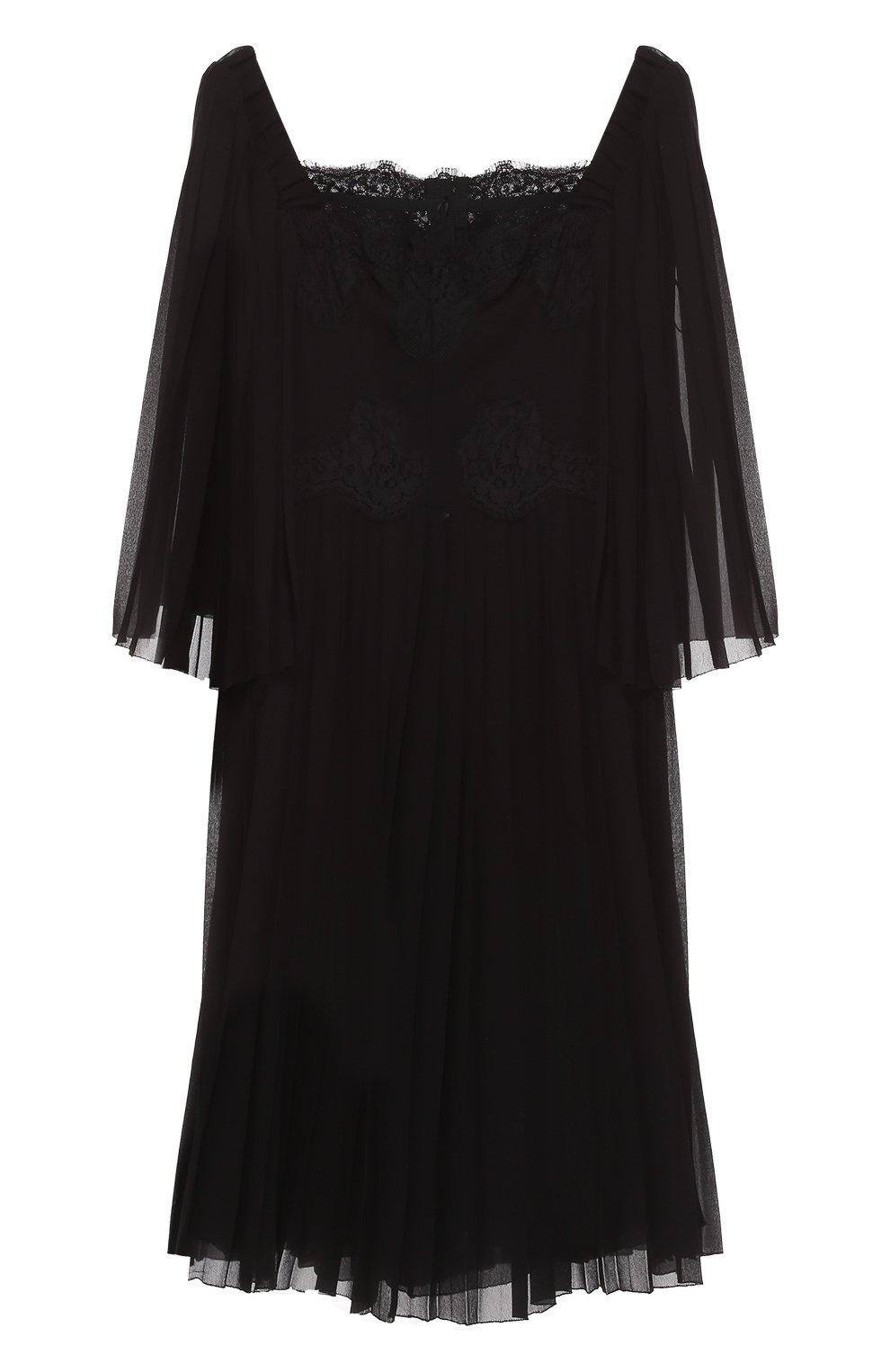 Шелковое платье с кружевной отделкой и коротким рукавом | Фото №1