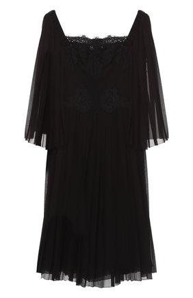Шелковое платье с кружевной отделкой и коротким рукавом Dolce & Gabbana черное | Фото №1