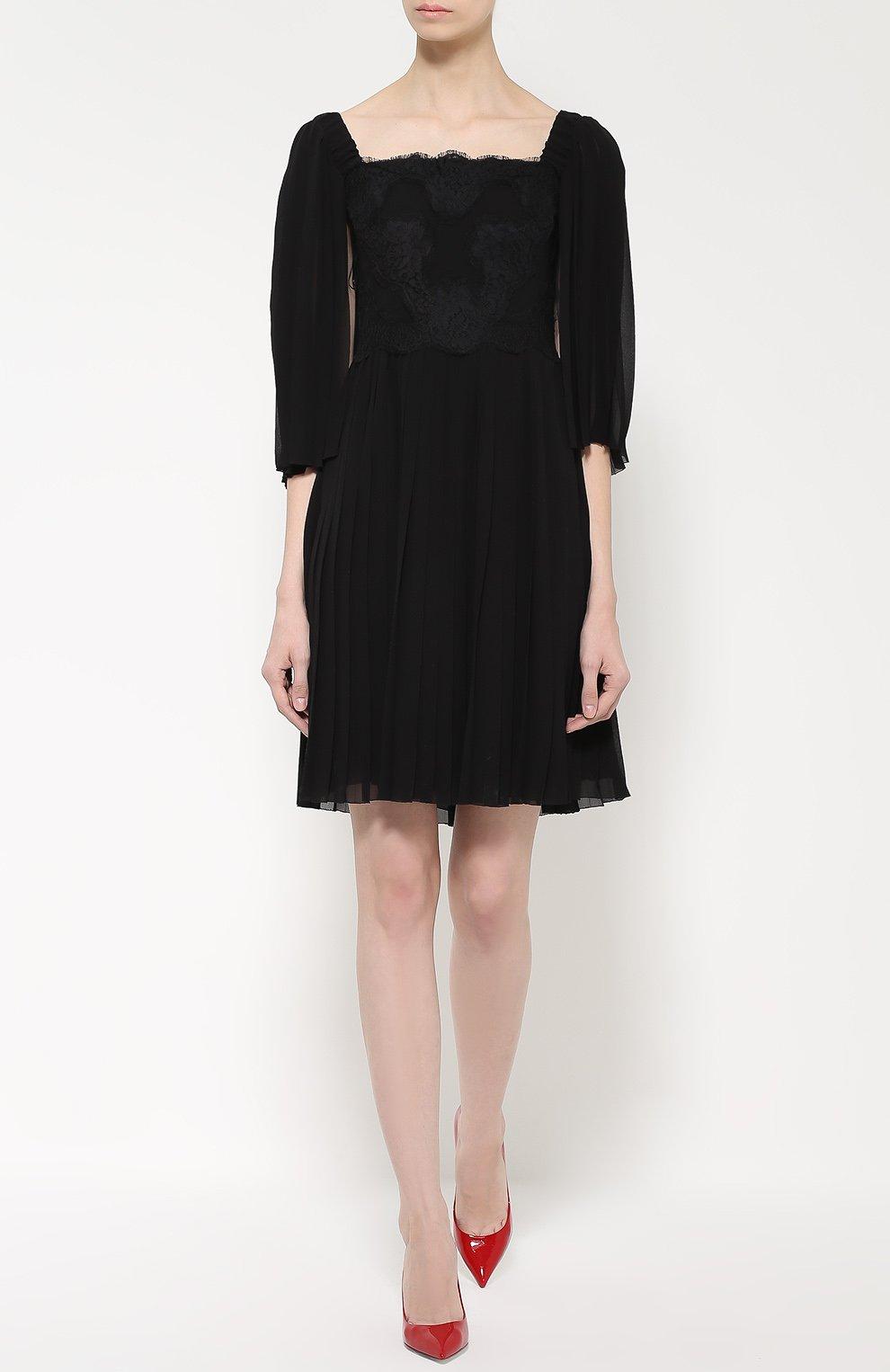 Шелковое платье с кружевной отделкой и коротким рукавом Dolce & Gabbana черное | Фото №2