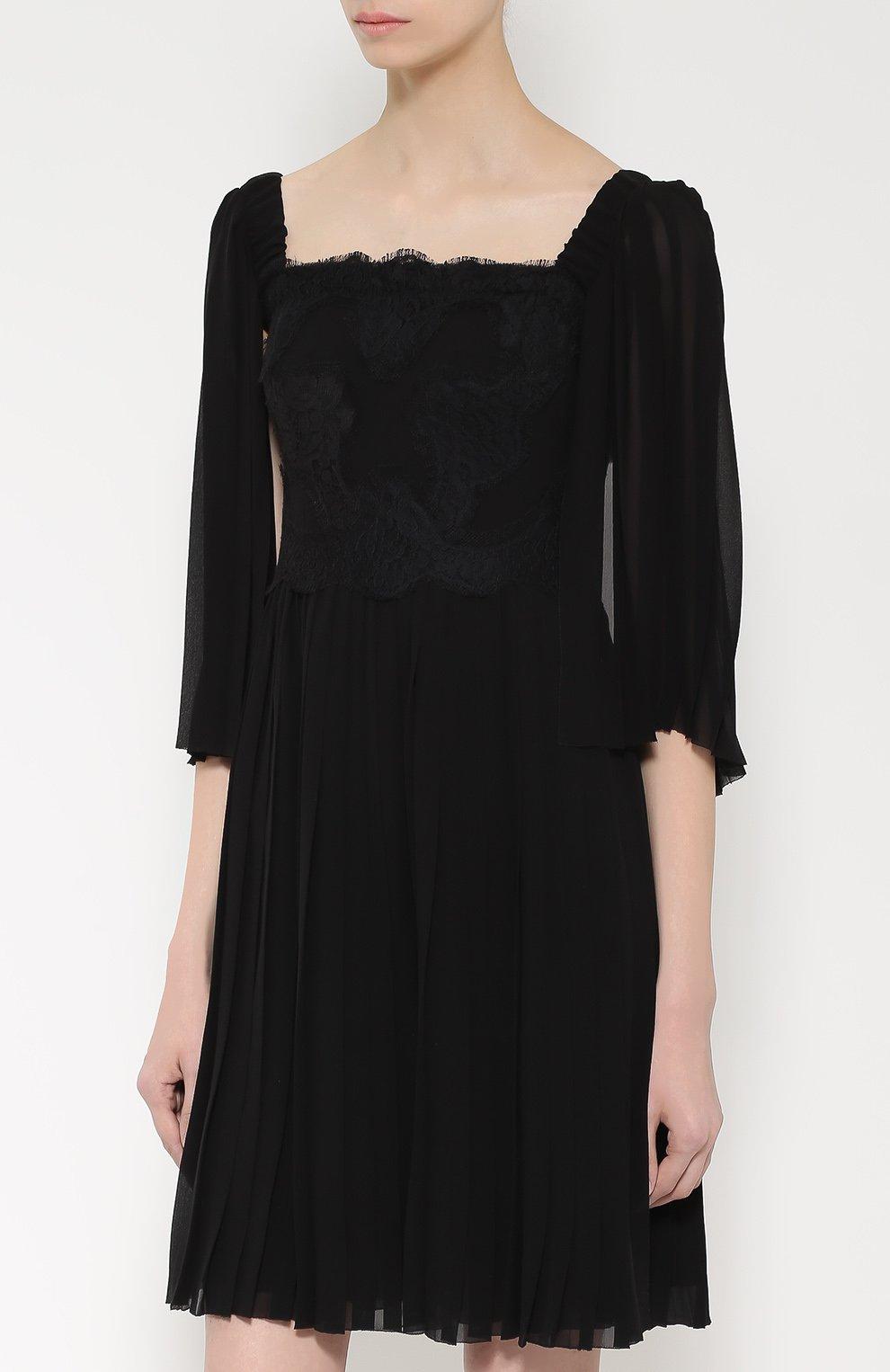 Шелковое платье с кружевной отделкой и коротким рукавом Dolce & Gabbana черное | Фото №3