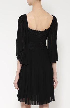 Шелковое платье с кружевной отделкой и коротким рукавом Dolce & Gabbana черное | Фото №4