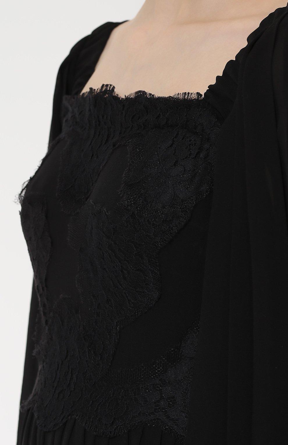 Шелковое платье с кружевной отделкой и коротким рукавом Dolce & Gabbana черное | Фото №5