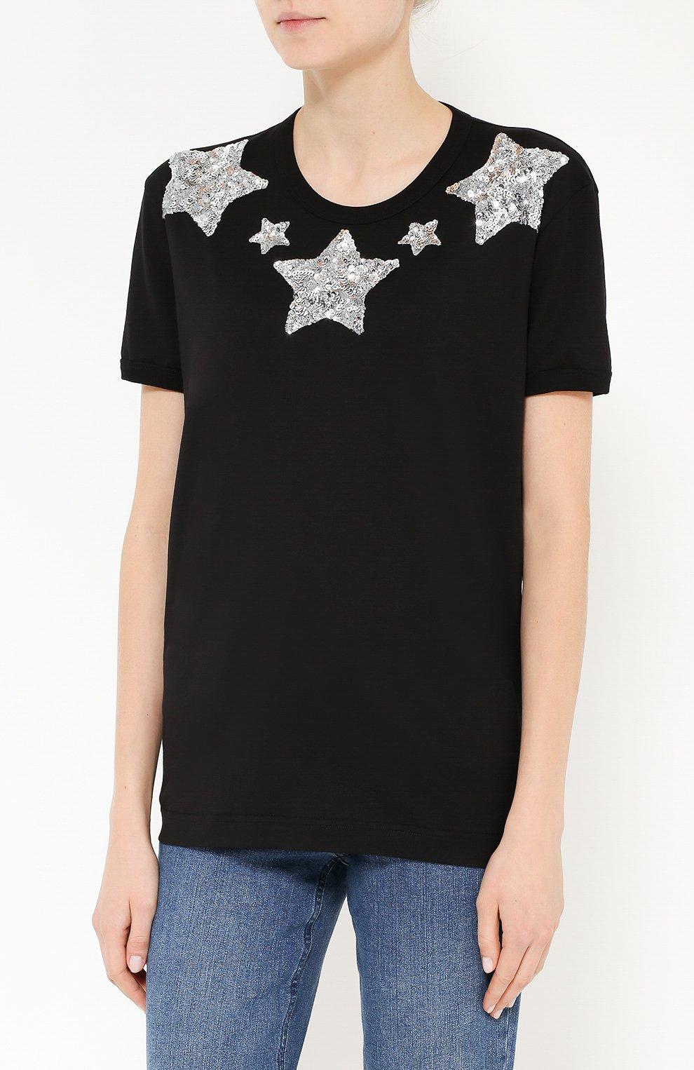 Хлопковая футболка прямого кроя с пайетками | Фото №3