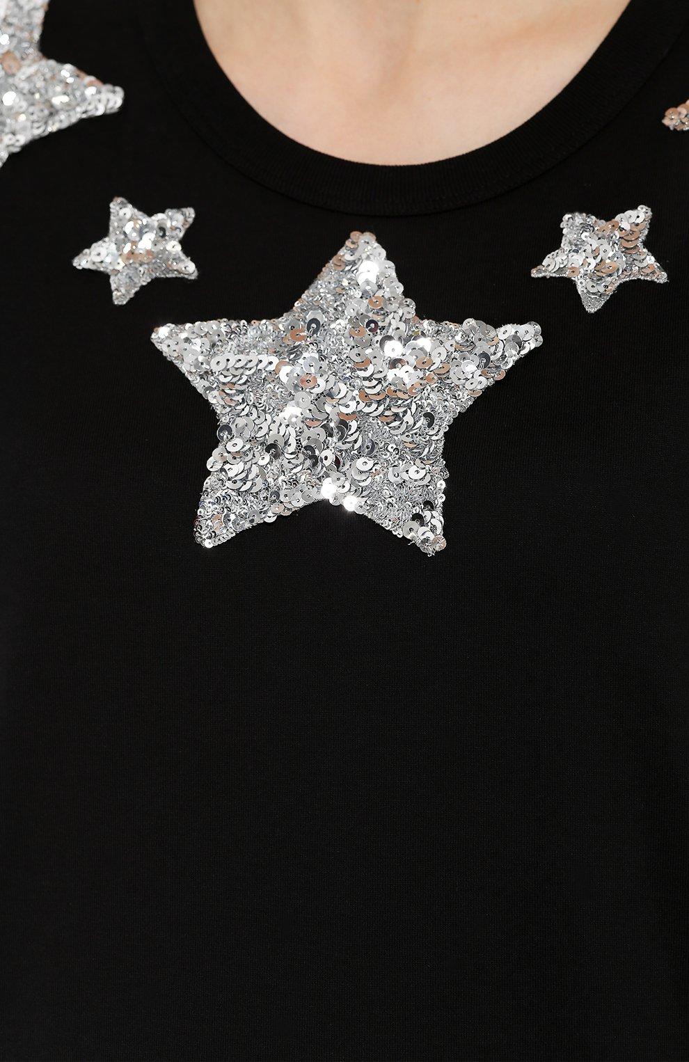 Хлопковая футболка прямого кроя с пайетками | Фото №5