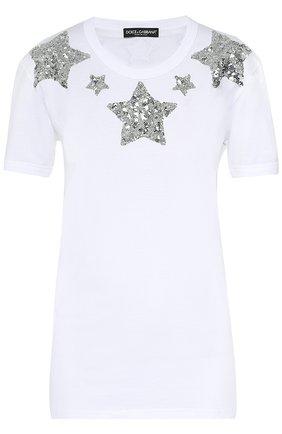 Хлопковая футболка прямого кроя с пайетками | Фото №1