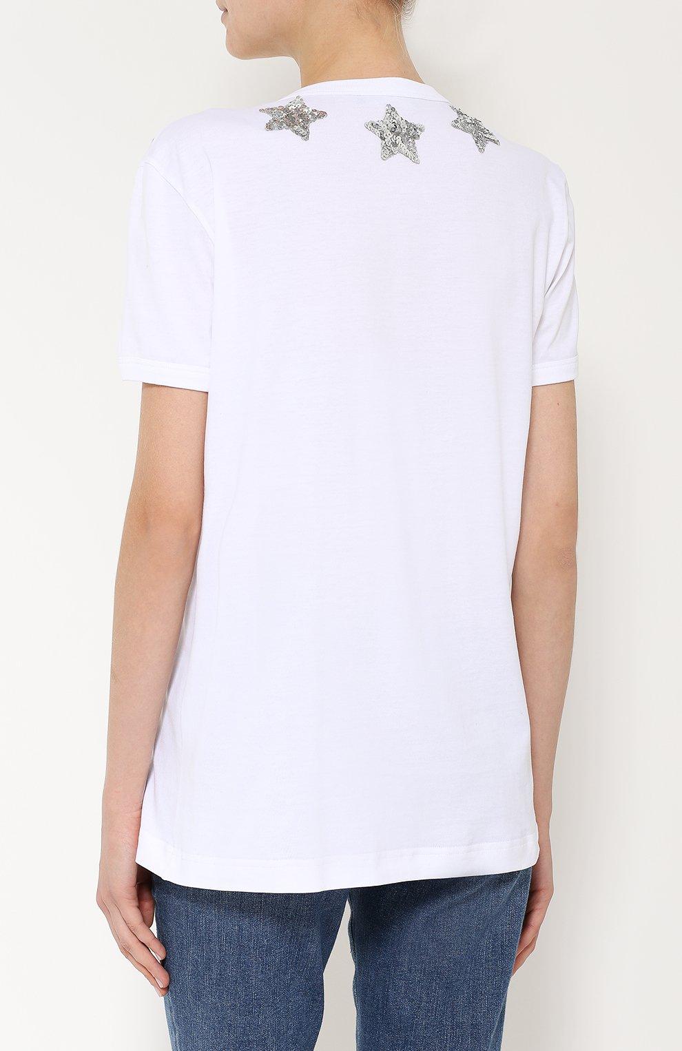 Хлопковая футболка прямого кроя с пайетками | Фото №4