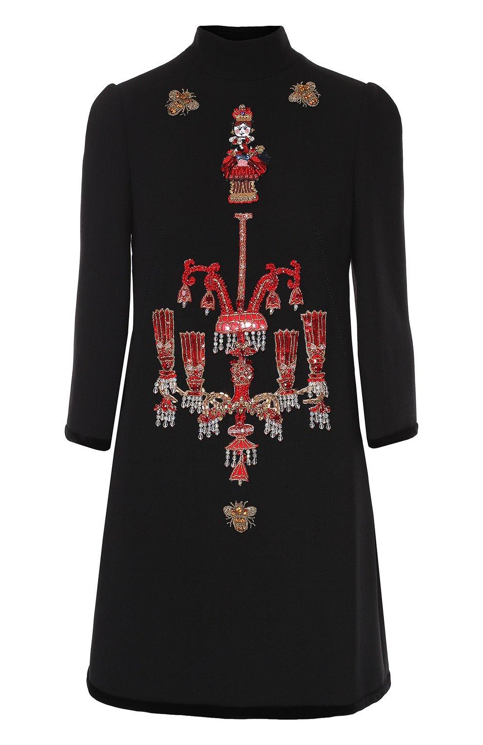 Мини-платье прямого кроя с яркой вышивкой | Фото №1