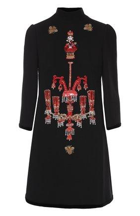 Мини-платье прямого кроя с яркой вышивкой Dolce & Gabbana черное | Фото №1