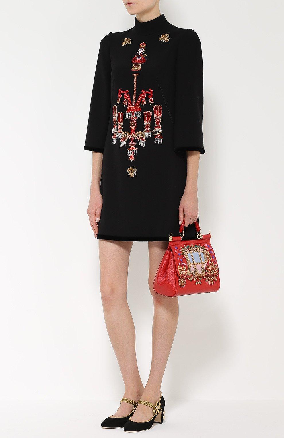 Мини-платье прямого кроя с яркой вышивкой Dolce & Gabbana черное | Фото №2