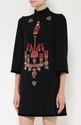 Мини-платье прямого кроя с яркой вышивкой Dolce & Gabbana черное | Фото №3
