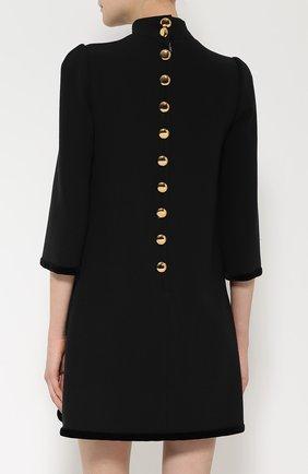 Мини-платье прямого кроя с яркой вышивкой Dolce & Gabbana черное | Фото №4