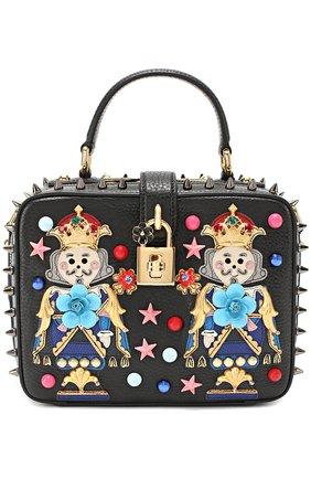 Сумка Dolce Soft с аппликациями и металлическими шипами Dolce & Gabbana черного цвета   Фото №1