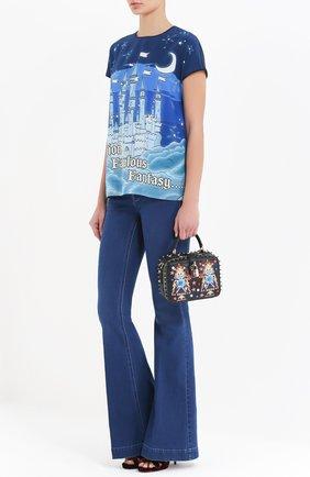 Сумка Dolce Soft с аппликациями и металлическими шипами Dolce & Gabbana черного цвета   Фото №2