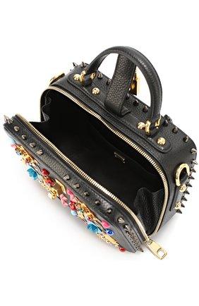 Сумка Dolce Soft с аппликациями и металлическими шипами Dolce & Gabbana черного цвета   Фото №4