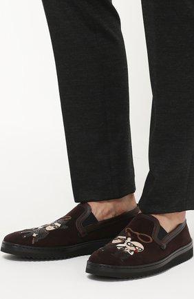 Замшевые лоферы Mondello с аппликациями Dolce & Gabbana коричневые | Фото №2