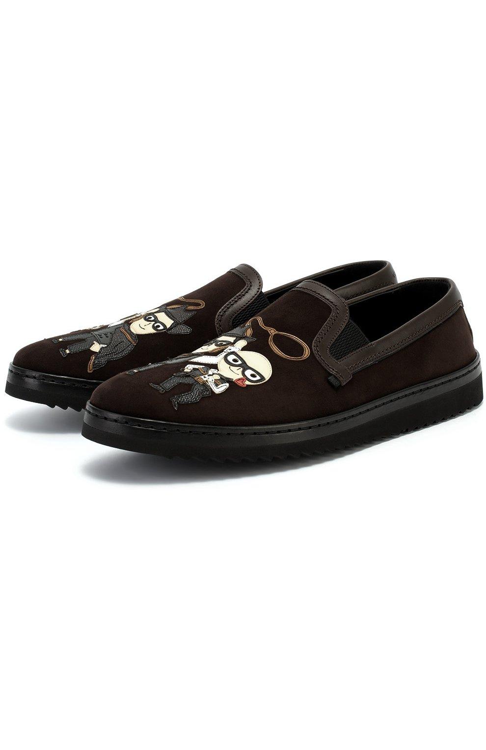 Замшевые лоферы Mondello с аппликациями Dolce & Gabbana коричневые | Фото №4