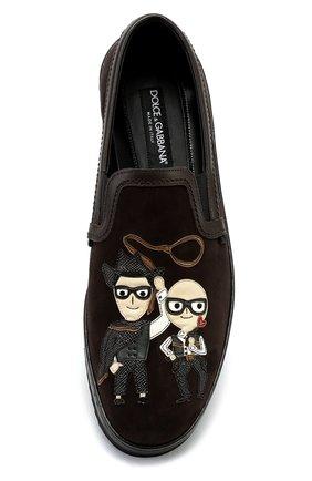Замшевые лоферы Mondello с аппликациями Dolce & Gabbana коричневые | Фото №6