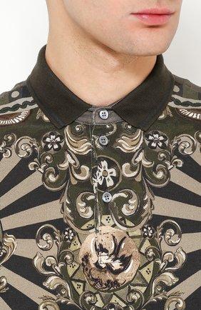 Хлопковое поло с принтом Dolce & Gabbana хаки | Фото №5