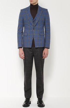 Однобортный пиджак из смеси шерсти и хлопка  Vivienne Westwood синий | Фото №1