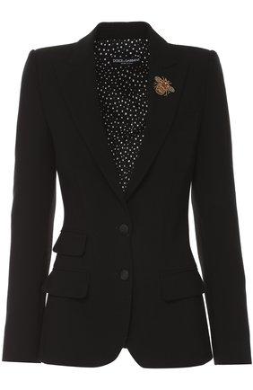 Приталенный жакет на пуговицах с декоративной отделкой Dolce & Gabbana черный | Фото №1