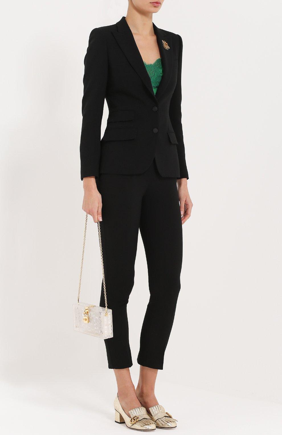 Приталенный жакет на пуговицах с декоративной отделкой Dolce & Gabbana черный | Фото №2
