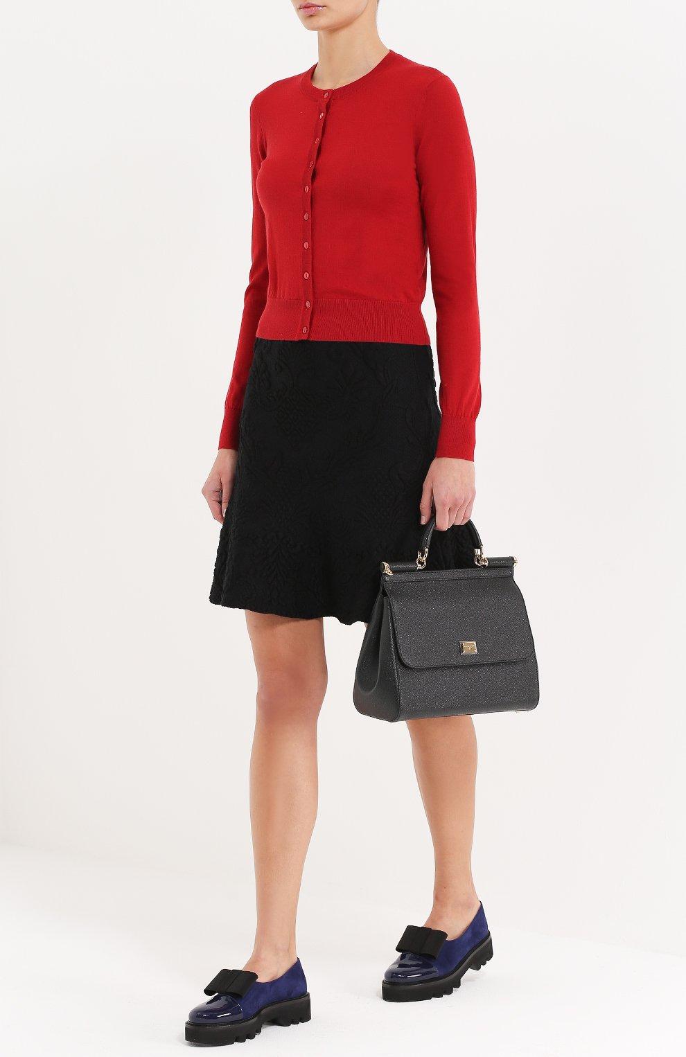 Кашемировый кардиган с круглым вырезом Dolce & Gabbana красный   Фото №2