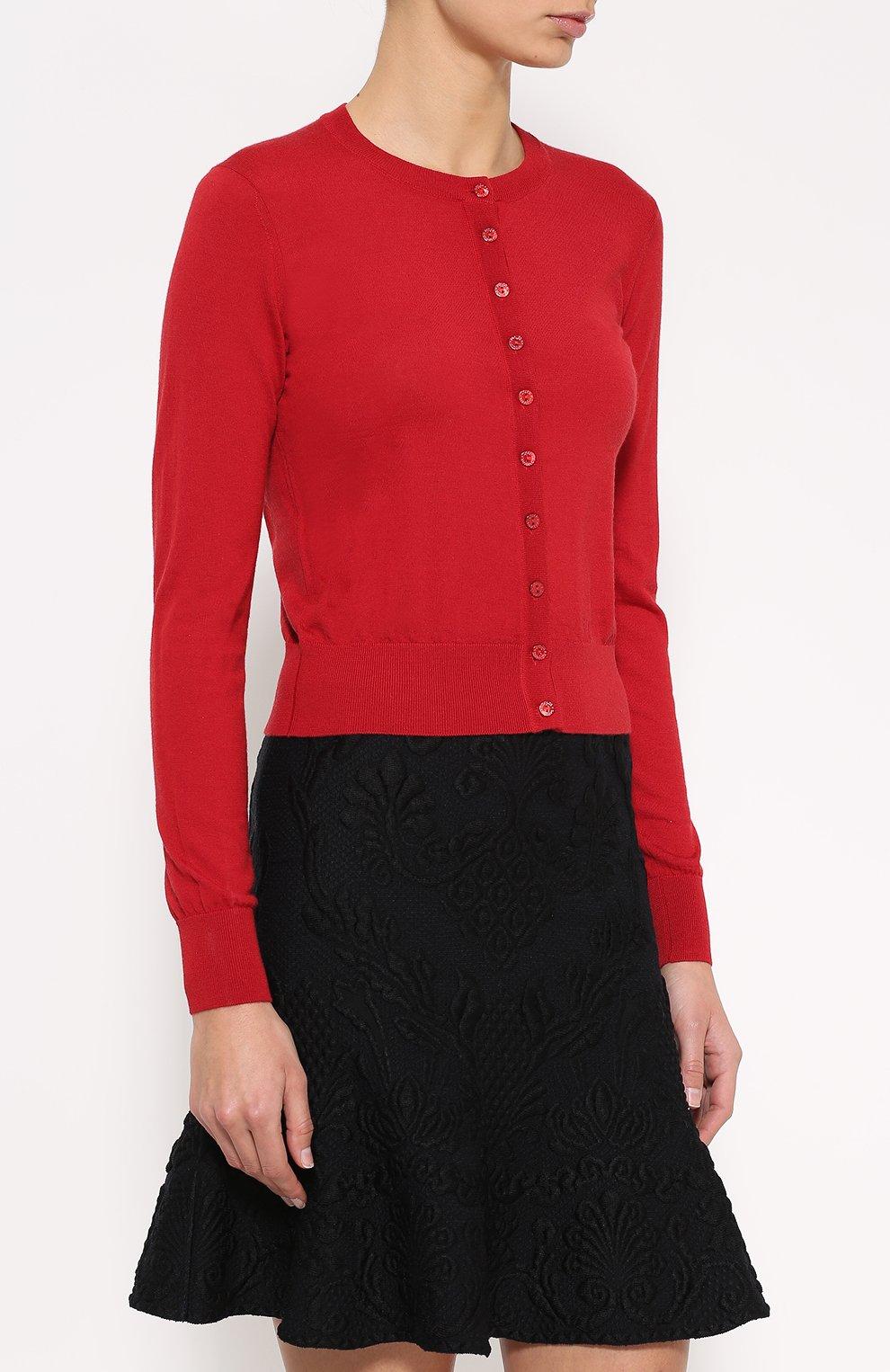 Кашемировый кардиган с круглым вырезом Dolce & Gabbana красный   Фото №3