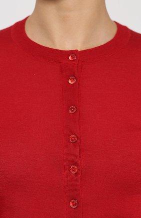 Кашемировый кардиган с круглым вырезом Dolce & Gabbana красный   Фото №5