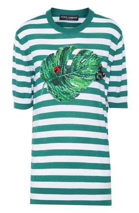 Шелковый топ в полоску с декоративной вышивкой Dolce & Gabbana зеленый | Фото №1