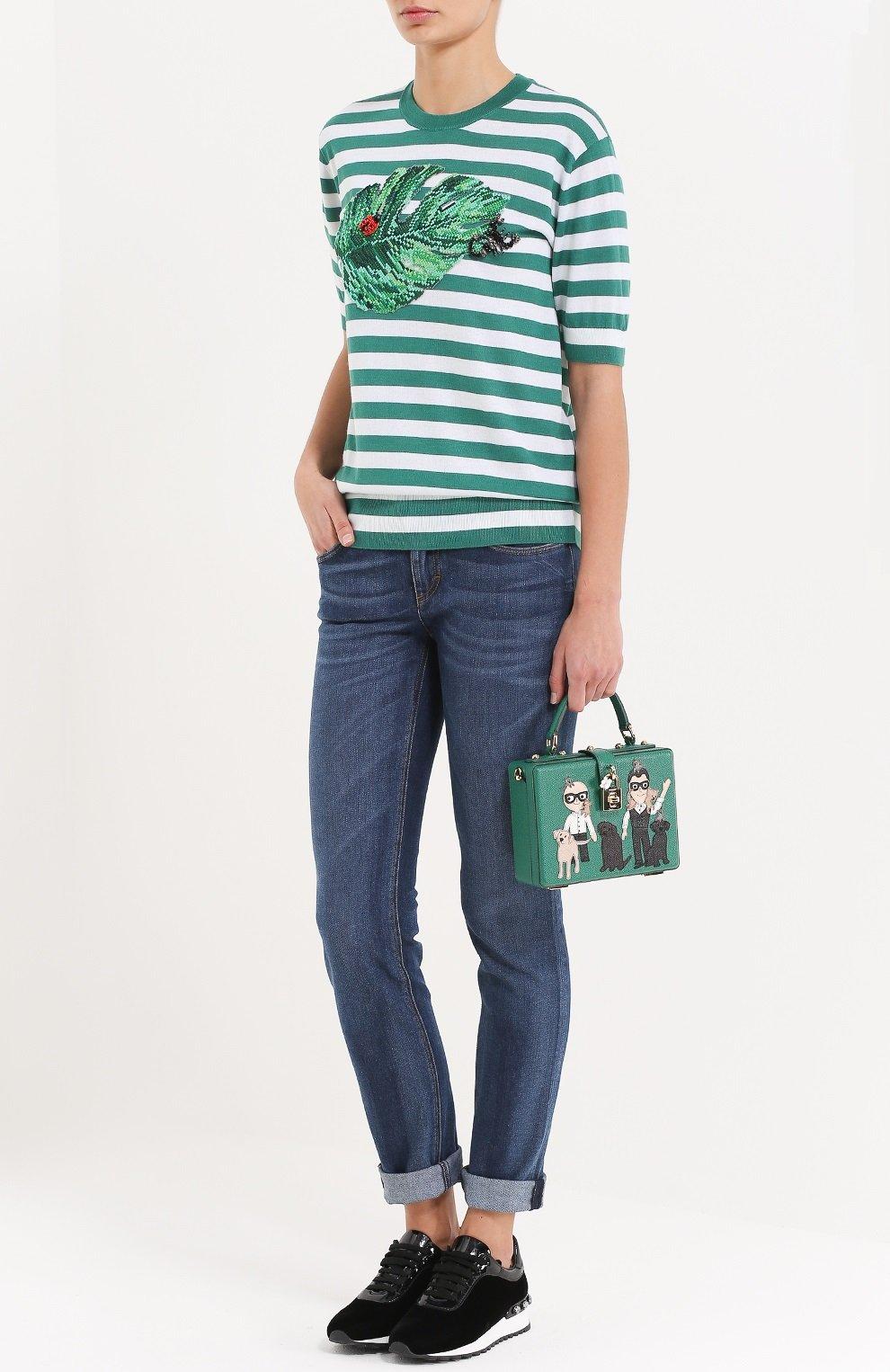 Шелковый топ в полоску с декоративной вышивкой Dolce & Gabbana зеленый | Фото №2