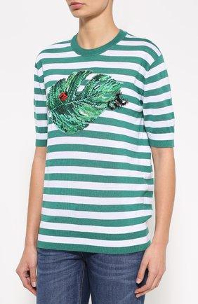 Шелковый топ в полоску с декоративной вышивкой Dolce & Gabbana зеленый | Фото №3
