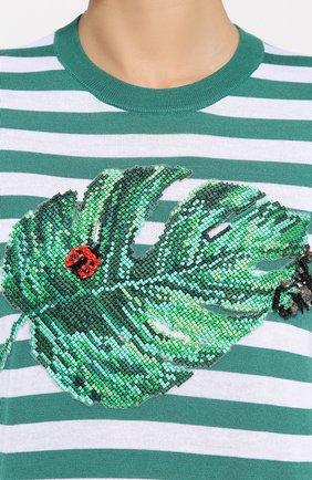 Шелковый топ в полоску с декоративной вышивкой Dolce & Gabbana зеленый | Фото №5