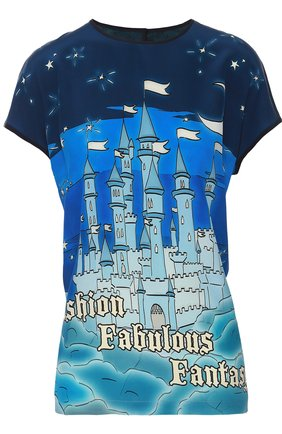 Шелковый топ с контрастным принтом Dolce & Gabbana темно-синий   Фото №1