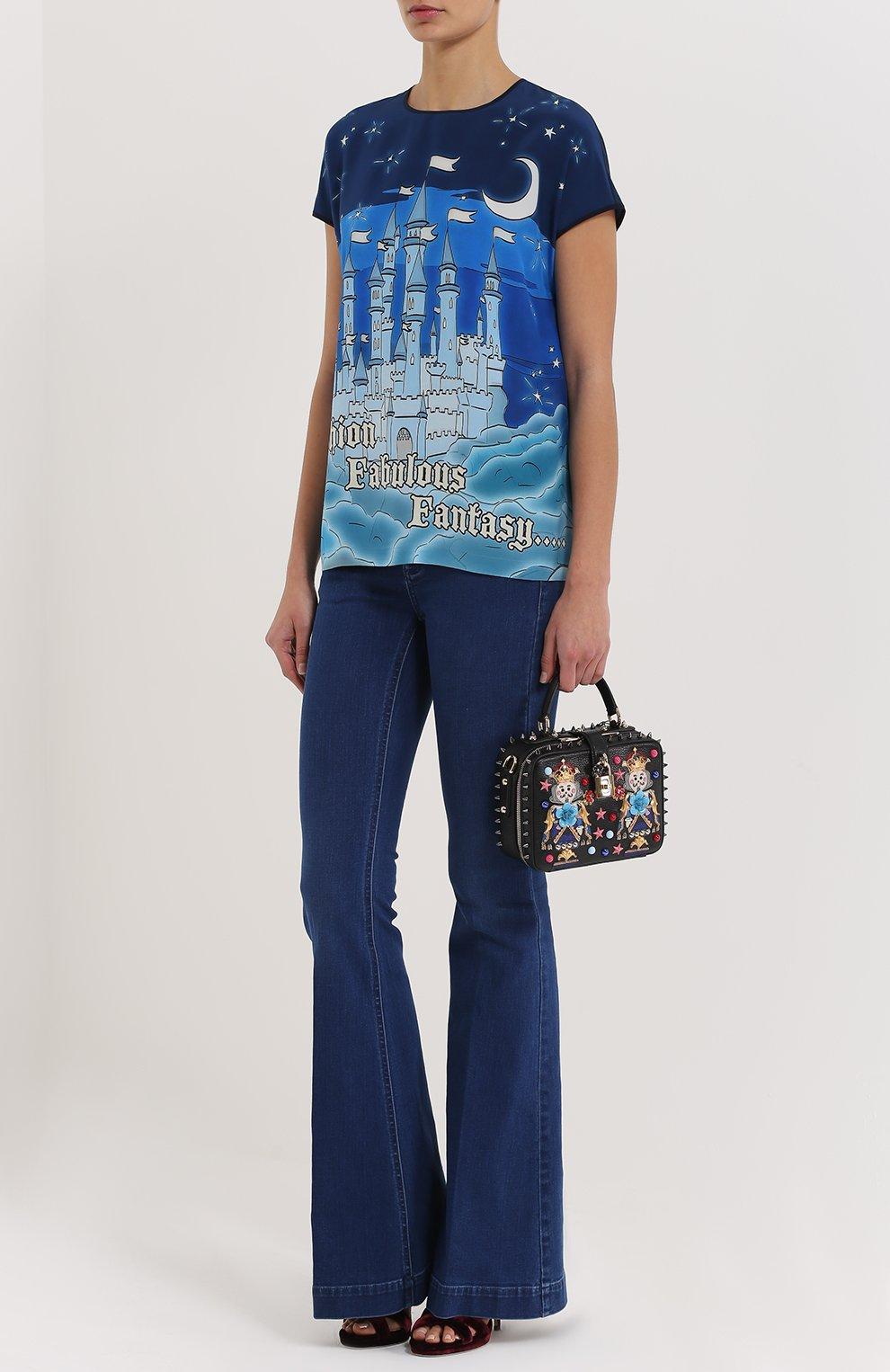 Шелковый топ с контрастным принтом Dolce & Gabbana темно-синий   Фото №2