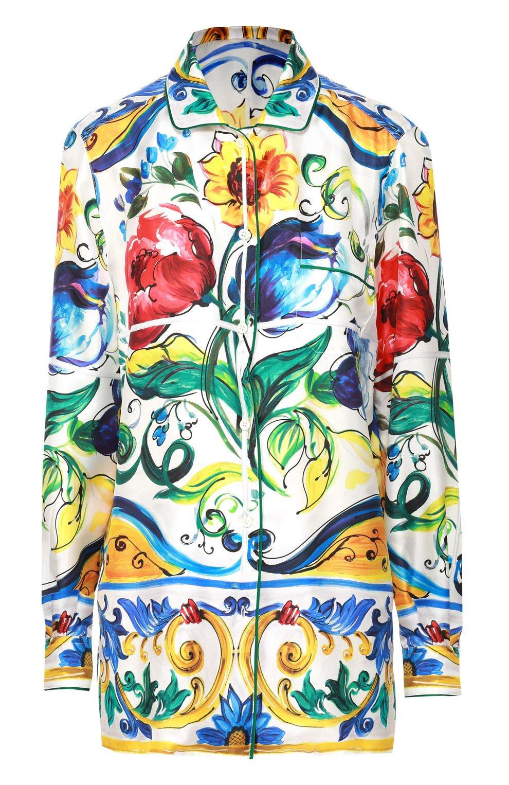 Шелковая блуза в пижамном стиле с ярким принтом | Фото №1