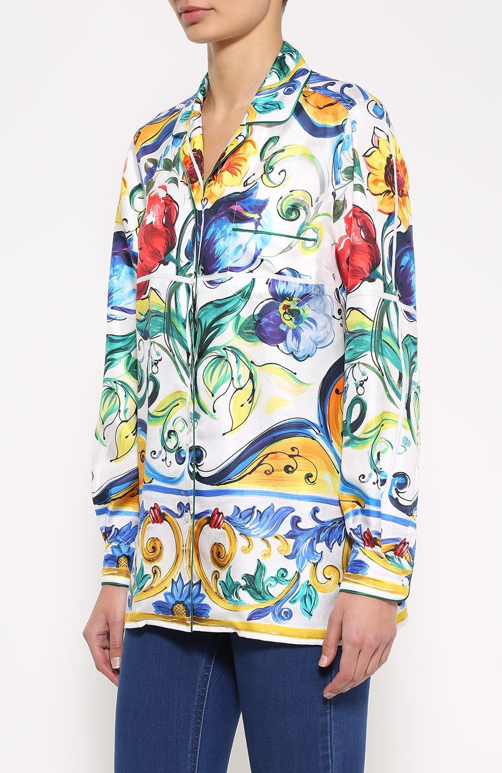 Шелковая блуза в пижамном стиле с ярким принтом Dolce & Gabbana разноцветная | Фото №3