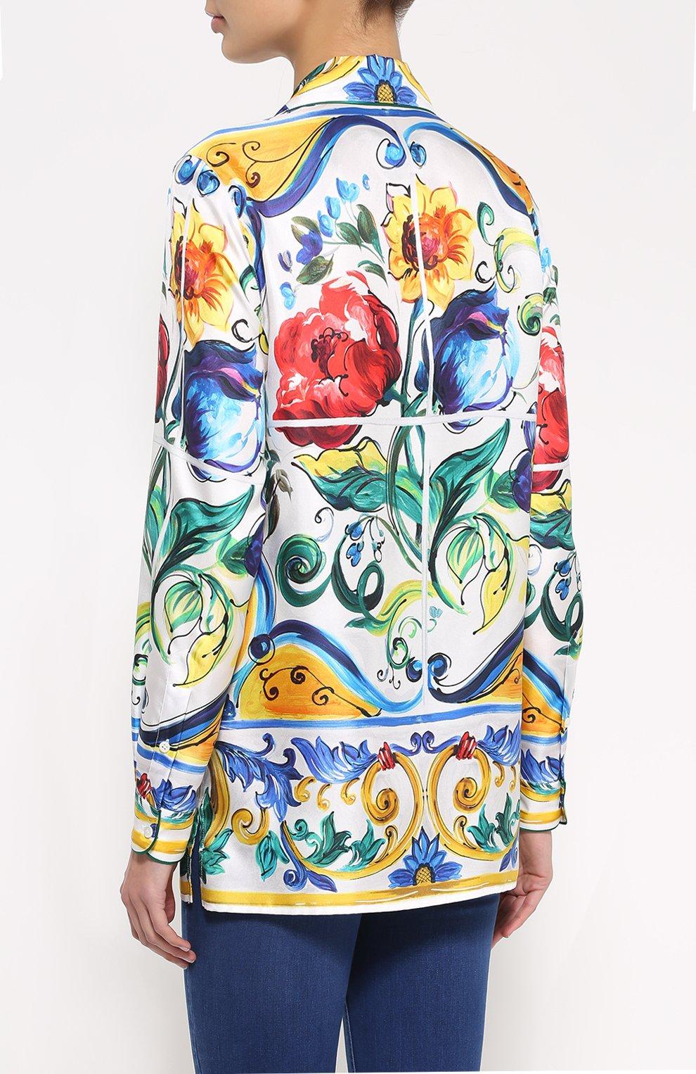 Шелковая блуза в пижамном стиле с ярким принтом Dolce & Gabbana разноцветная | Фото №4