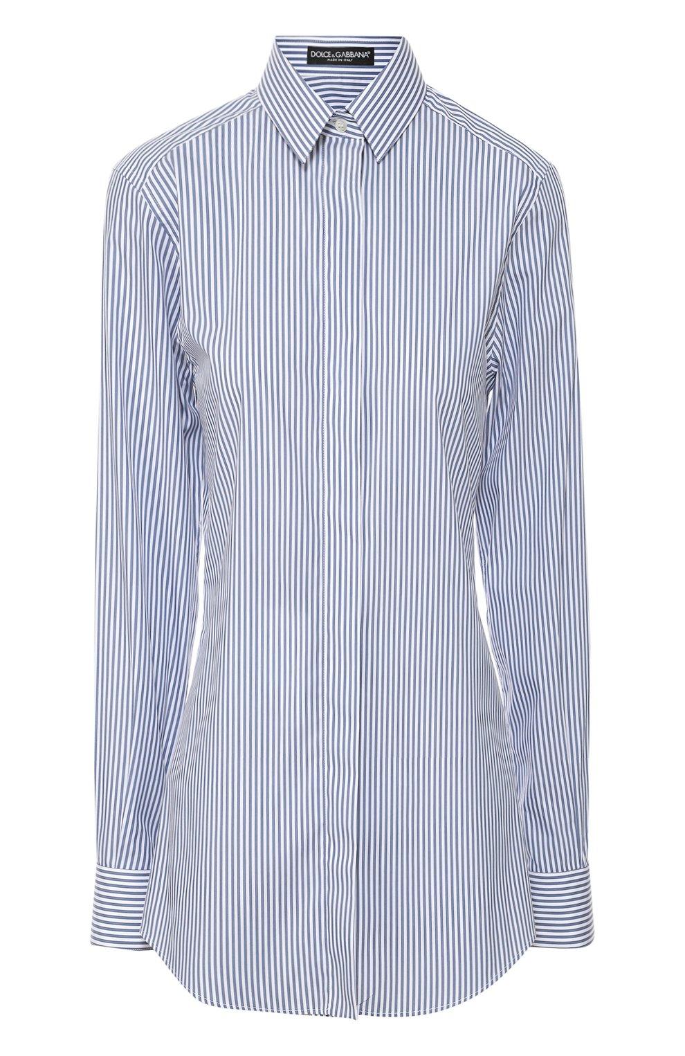 Хлопковая приталенная блуза в полоску | Фото №1