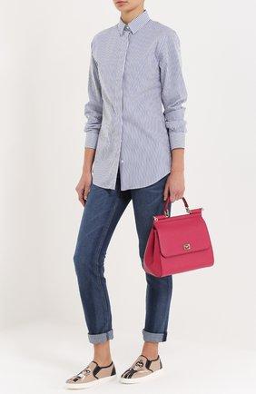 Хлопковая приталенная блуза в полоску | Фото №2
