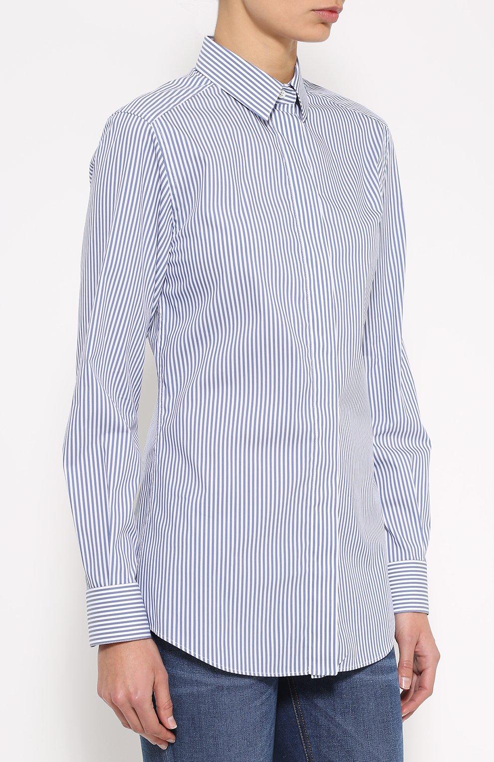 Хлопковая приталенная блуза в полоску | Фото №3