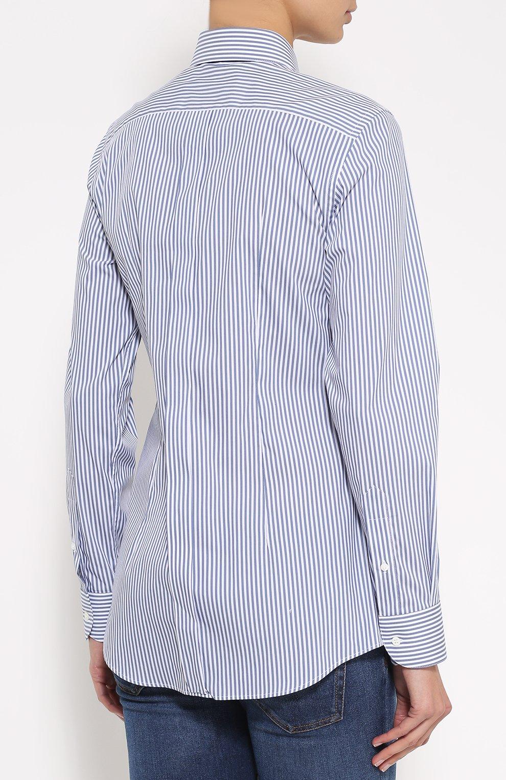 Хлопковая приталенная блуза в полоску | Фото №4
