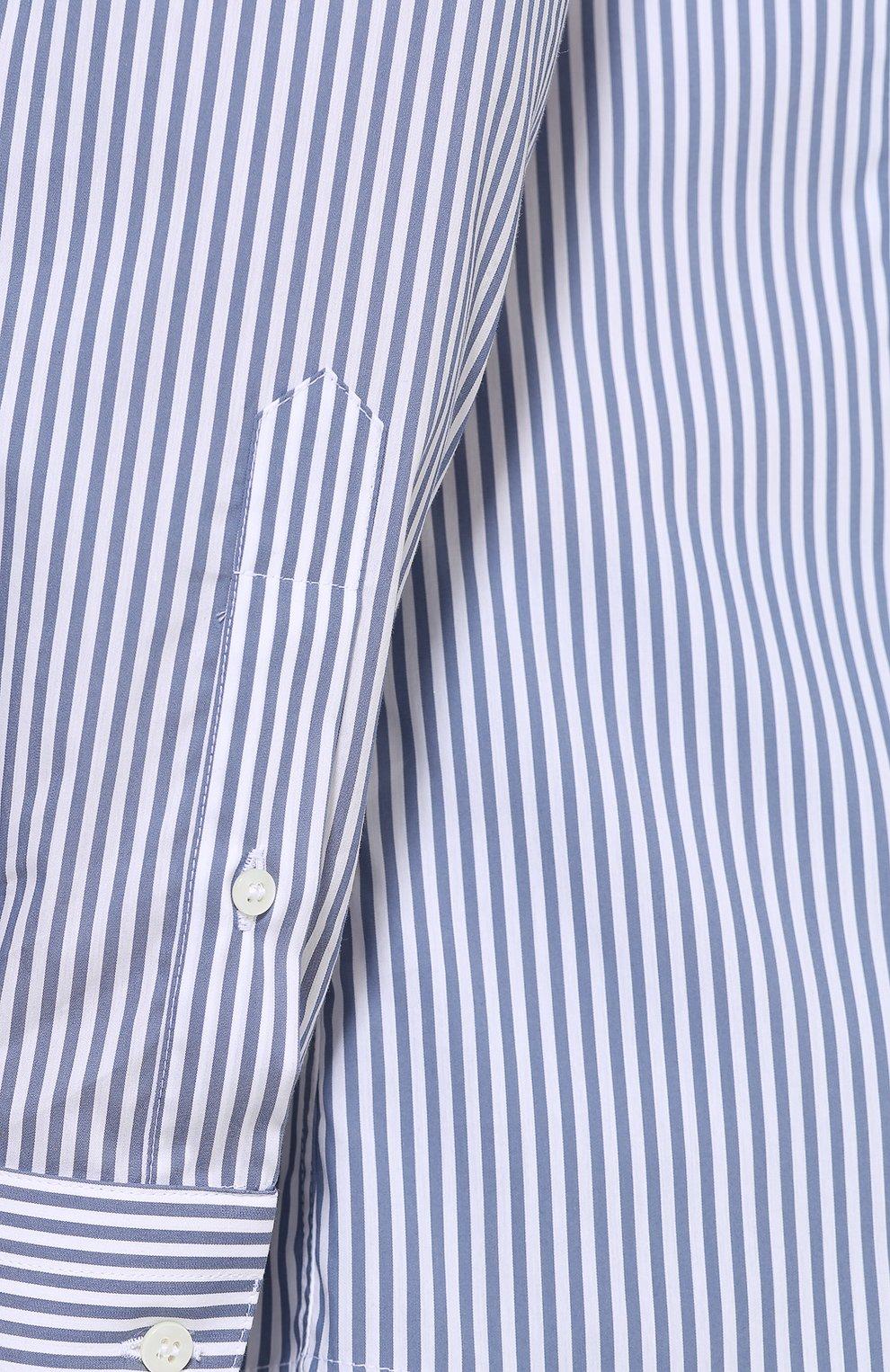 Хлопковая приталенная блуза в полоску | Фото №5