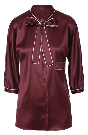 Шелковая блуза с контрастной отделкой и воротником аскот | Фото №1
